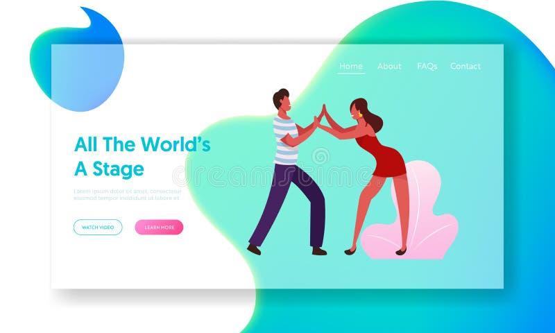 Happy Leisure en Hobby Sparetime Website Landing Page Jonge mensen dansen Samba op de Braziliaanse dansfeest stock illustratie