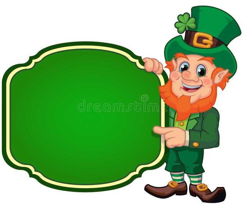 Happy Leprechaun Standing Beside a Sign. Happy smiling cartoon leprechaun standing next to a blank sign and pointing to empty copy space isolated on a white royalty free illustration