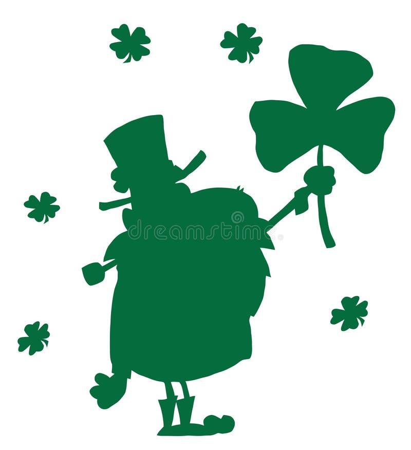 Free Happy Leprechaun With Shamrock Green Silhouette Stock Photography - 13143952