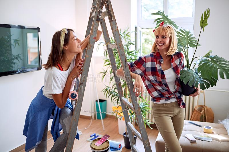 Lesbian women in moving in new house royalty free stock image