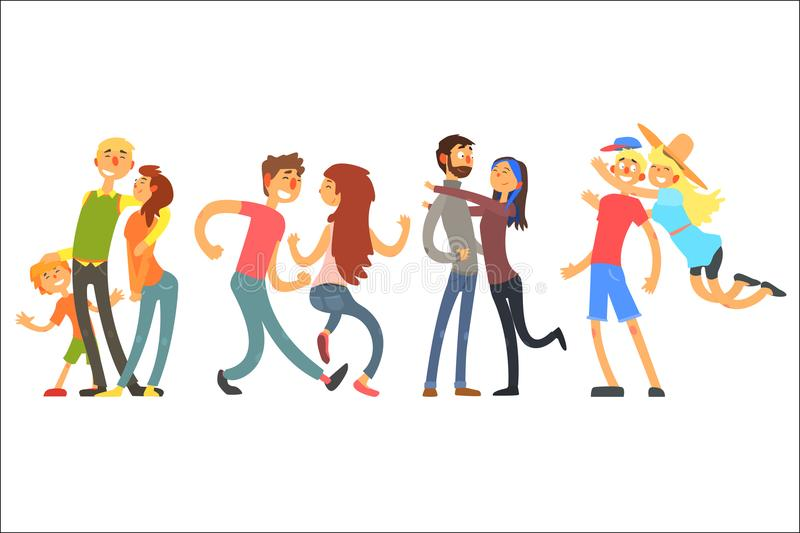 Happy life moments family with kid, dancing and hugging couples. Young people having fun together. Parents with child royalty free illustration