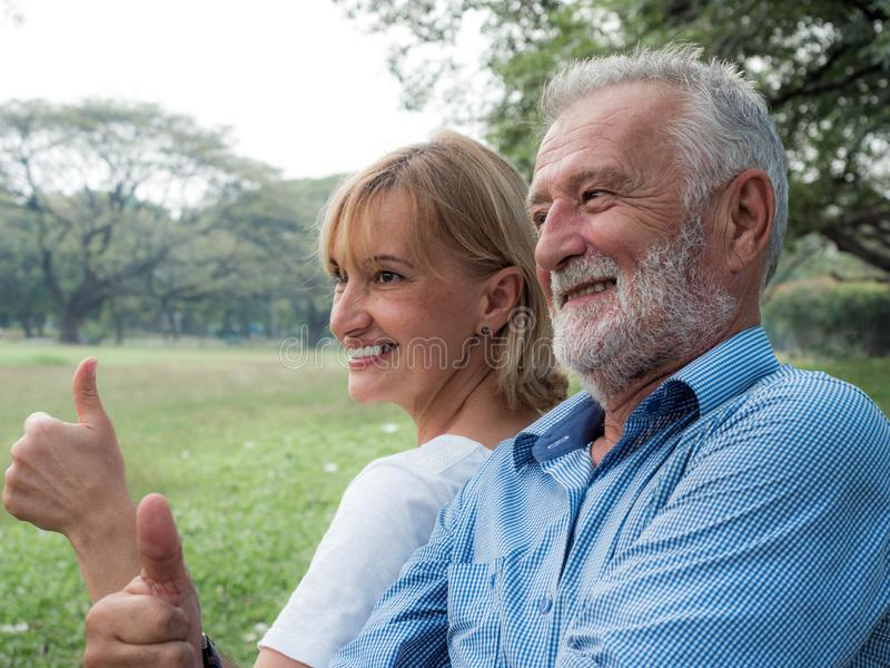 Happy life, Senior couple enjoying spending time together royalty free stock photo