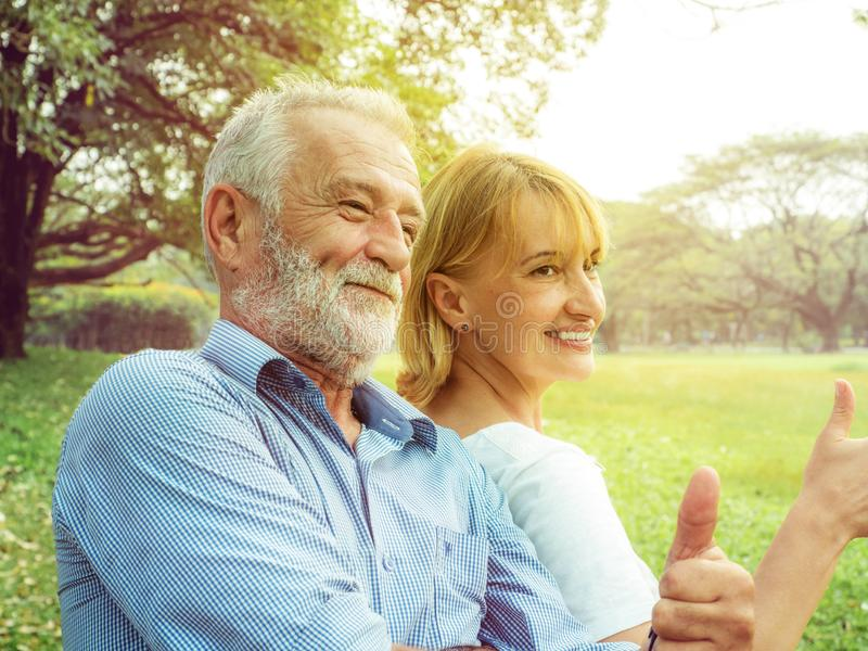 Happy life, Senior couple enjoying spending time together stock photo