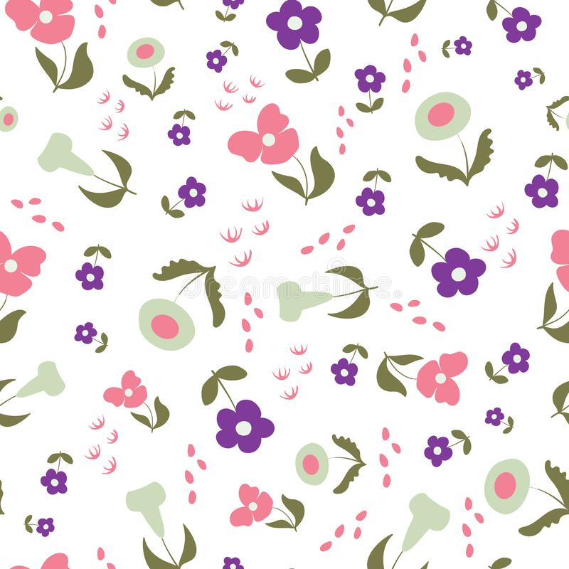Happy in Lilac Floral Seamless Repeat Pattern Vector Background stock illustrationer