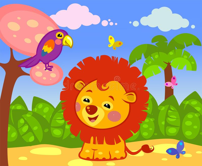 Happy lion. In the nature stock illustration