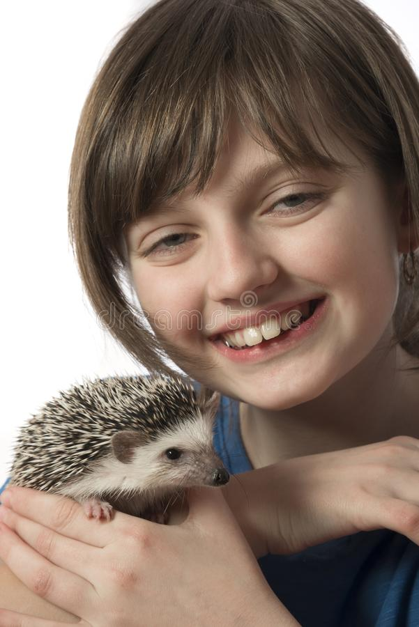 Happy litle girl with African pygmy hedgehog royalty free stock photography