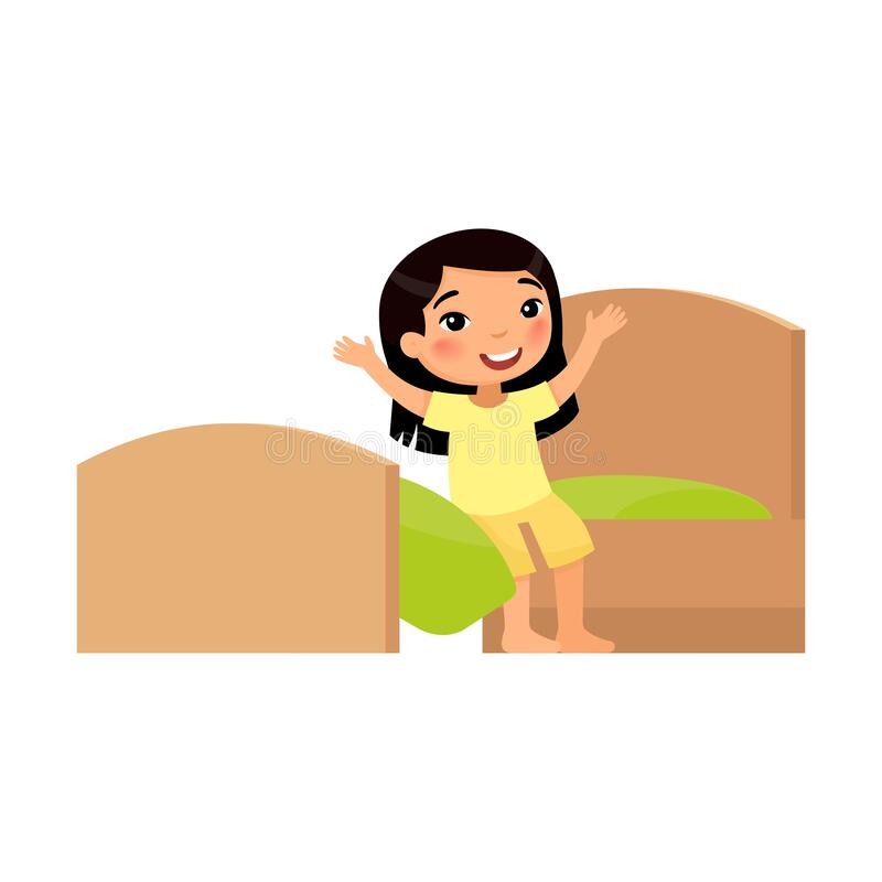 Free Happy Little Asian Girl Is Sitting On The Bed. Happy Baby Stretches. Day Mode Concept Royalty Free Stock Photo - 191870675