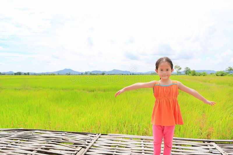 Happy little Asian kid girl stretch arms and relaxed at the young green paddy fields with mountain and cloud sky royalty free stock images