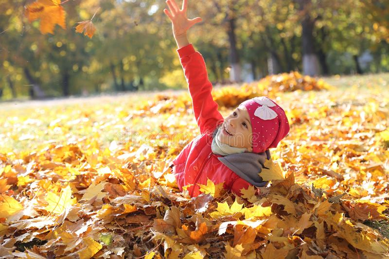 Happy little baby girl playing in autumn in yellow leaves royalty free stock photography