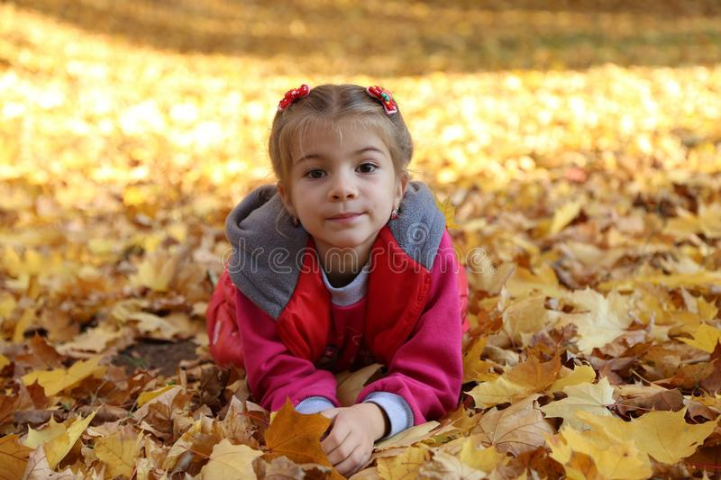 Happy little baby girl playing in autumn in yellow leaves royalty free stock photo