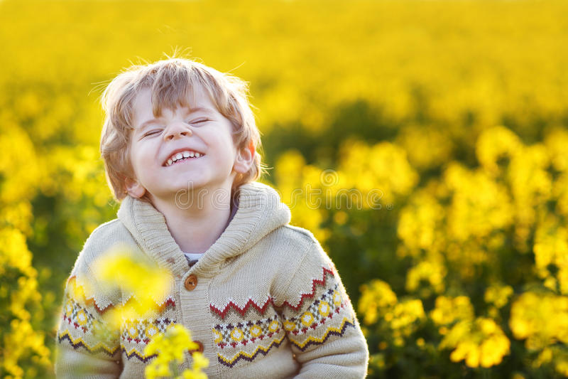 Happy little blond toddler boy lauging in yellow field on a royalty free stock photo