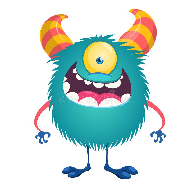 Happy little blue one-eyed monster alien character. royalty free illustration