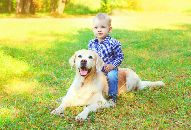 Happy little boy child and Golden Retriever dog is lying together on the grass on summer stock photos