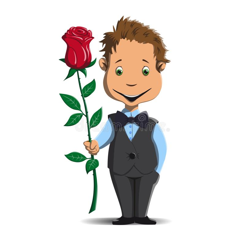 Happy little boy gives a red rose. Little boy in a suit is holding a red rose vector illustration