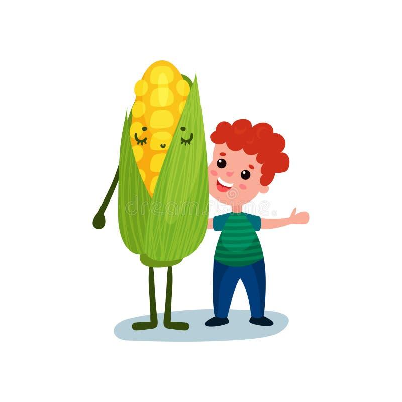 Happy little boy hugging giant sweet corn vegetable character, best friends, healthy food for kids cartoon vector vector illustration