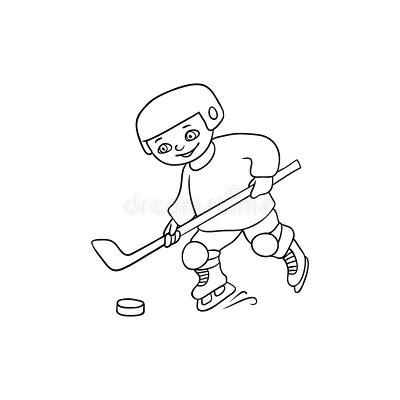 Happy little boy playing hockey, black and white. Happy little boy playing hockey, winter activity, black and white flat cartoon vector illustration isolated on vector illustration