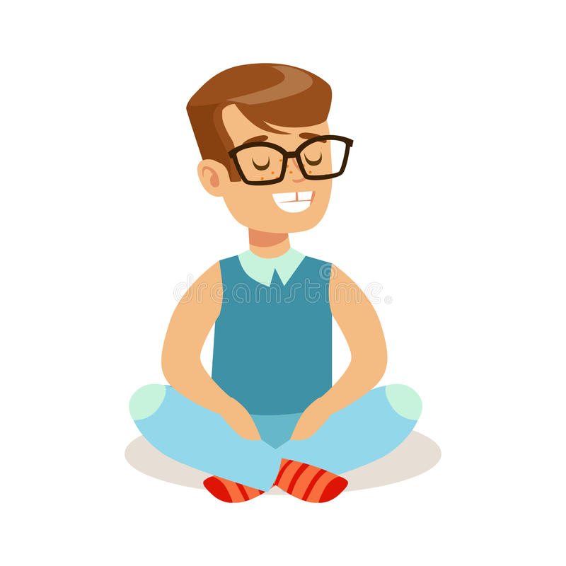 Happy little boy sitting with crossed legs on the floor. Colorful cartoon character stock illustration