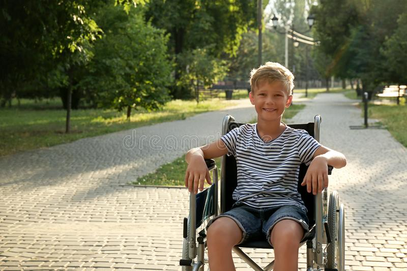 Happy little boy in wheelchair at park on sunny day.  for text royalty free stock photo