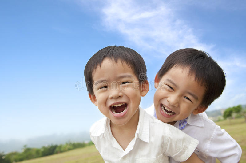 Happy little boys. Portrait of happy little boys royalty free stock image