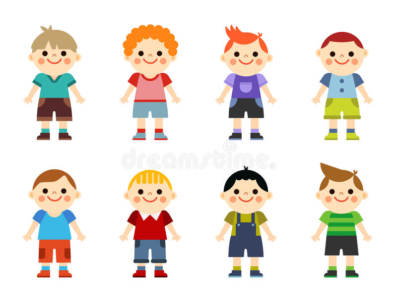 Happy little boys collection set. isolated on white background vector illustration