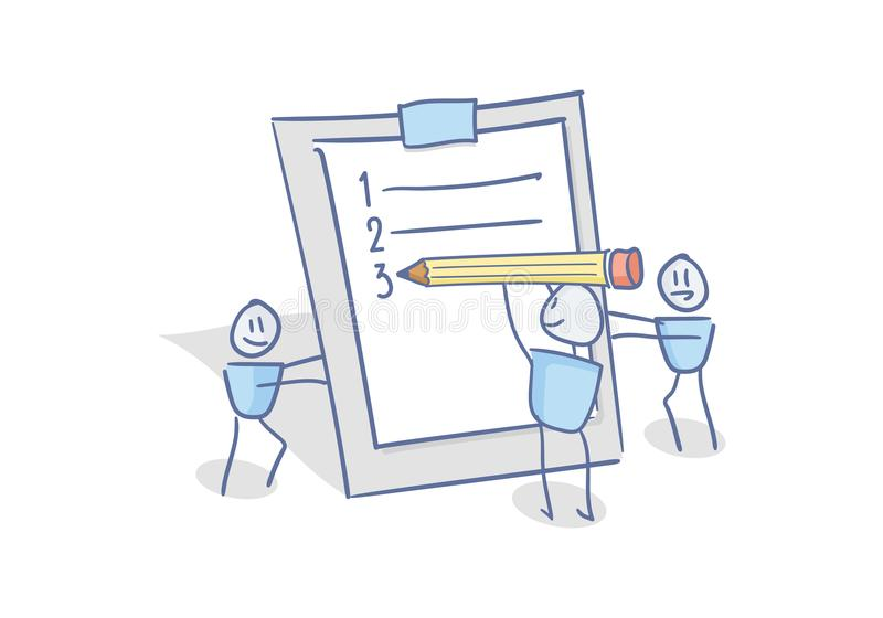 Happy little characters working as a team filling the to do list planner. Doodle illustration for business and other concepts. Related with efficiency, teamwork vector illustration