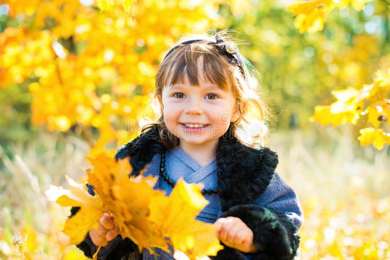 Happy little child, baby girl laughing and playing in the autumn on the nature walk outdoors.  stock photos