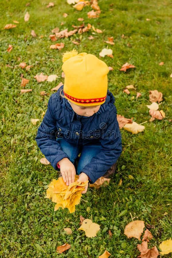 Happy little child, baby girl laughing and playing in the autumn on the nature walk outdoors. Kid play in autumn park. Happy little child, baby girl laughing and royalty free stock image