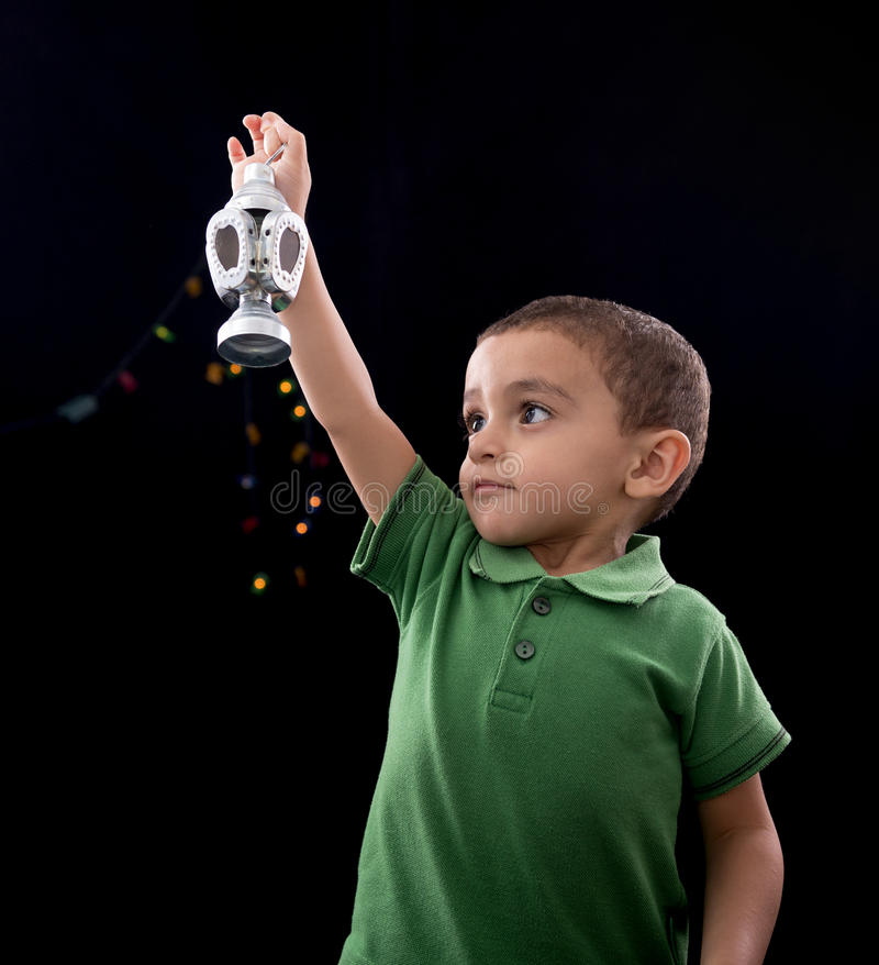 Happy Little Child with Ramadan Lantern stock images