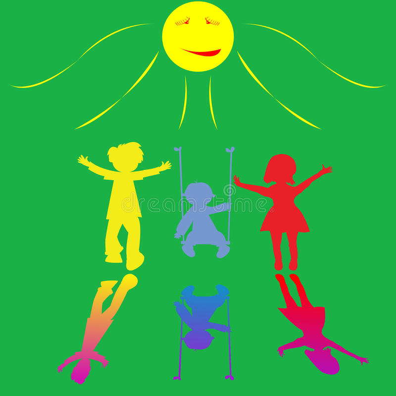 Happy little children playing on sunny background royalty free illustration