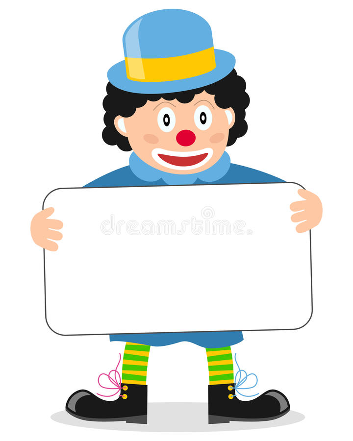 Happy Little Clown with Banner royalty free stock photo