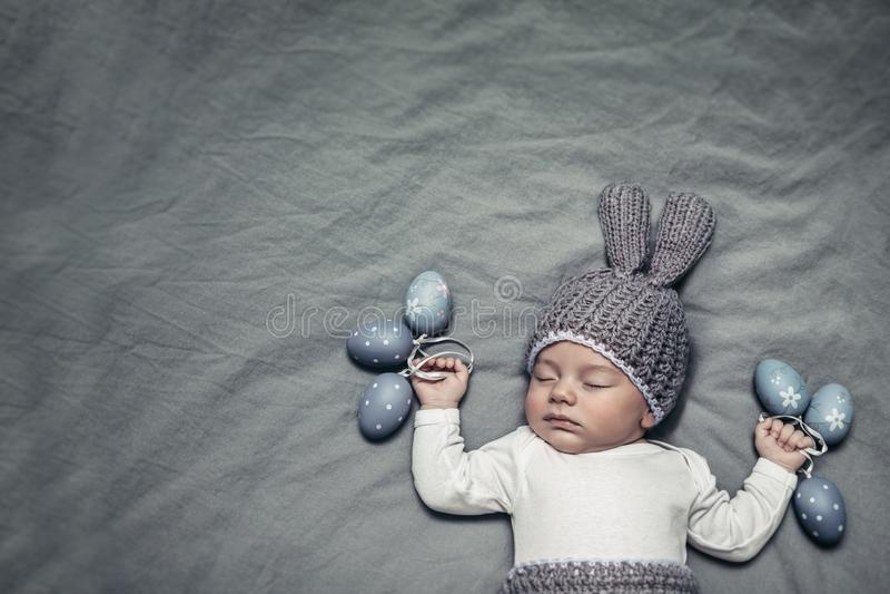 Happy little Easter bunny stock photos