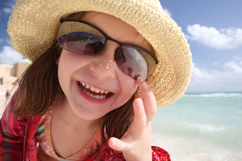 Happy little girl. stock images