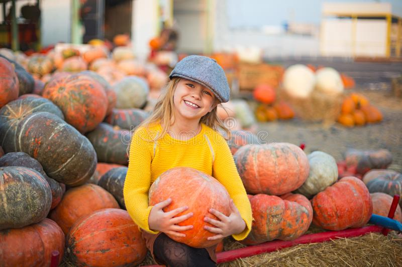 Happy little girl at the autumn pumpkin patch background stock images