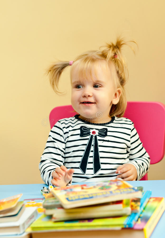 Download Happy Little Girl With Books Stock Image - Image: 30693333