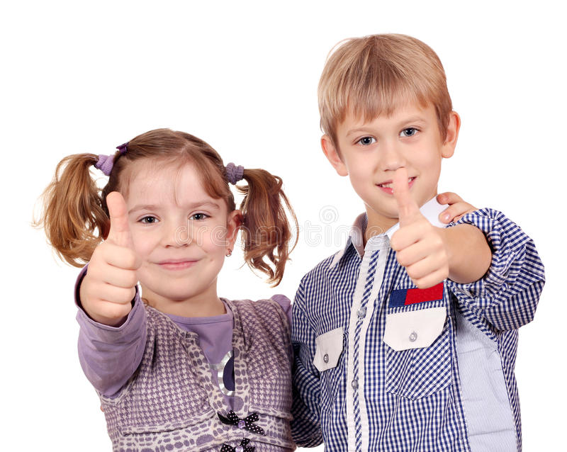 Download Happy little girl and boy stock image. Image of thumb - 28655817