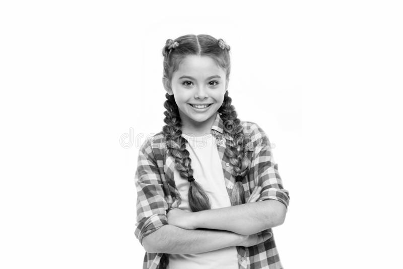 Happy little girl. Childhood happiness. International childrens day. small kid fashion. small girl child with perfect. Hair. Young expertise. Feeling free and stock photography