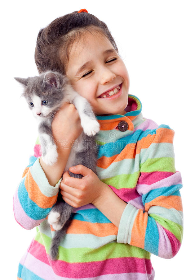 Free Happy Little Girl Cuddle Kitten Royalty Free Stock Images - 23028509