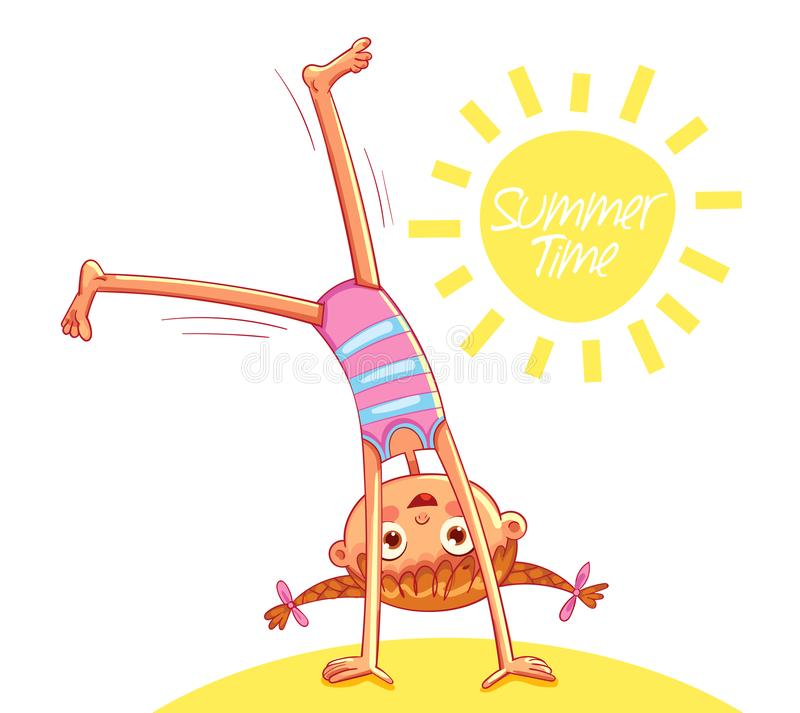 Happy little girl doing cartwheel on sea beach. Summer time. Red-haired girl with two funny pigtails have fun jumping. Funny cartoon character. Vector royalty free illustration