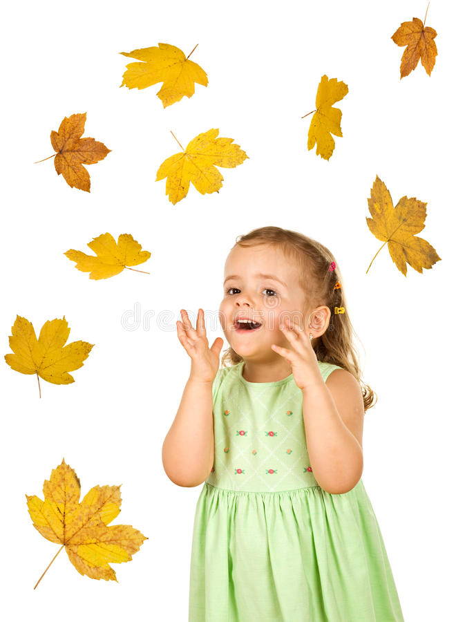 Download Happy Little Girl With Falling Leaves Stock Image - Image: 10877025