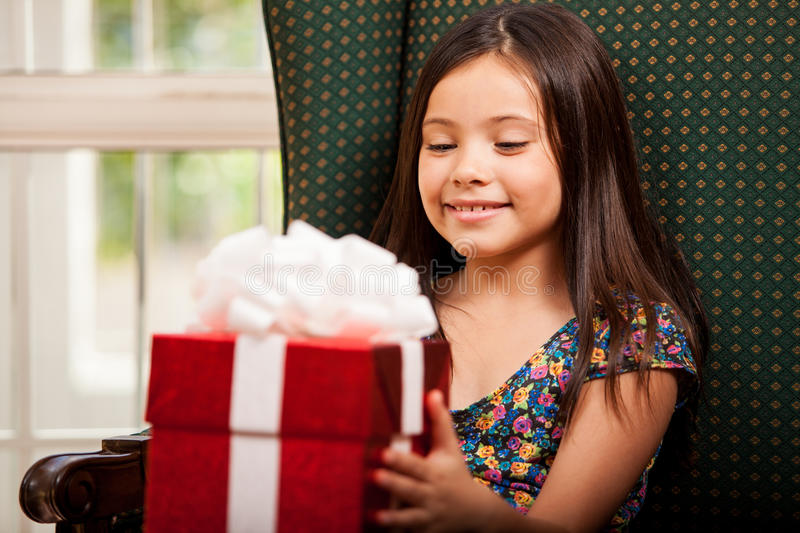 Download Happy Little Girl With A Gift Box Stock Image - Image: 34083379