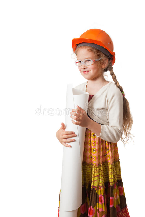 Happy little girl in the hardhat stock image