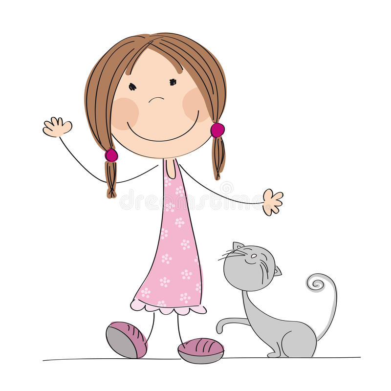 Happy little girl with her grey cat royalty free illustration