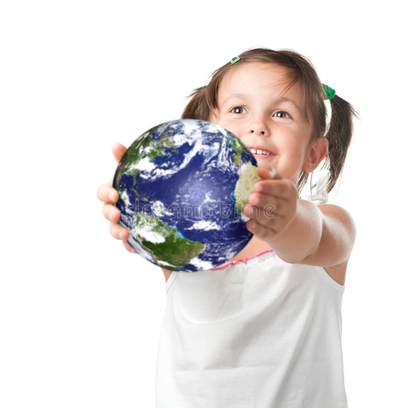Happy little girl holding planet earth royalty free stock photos