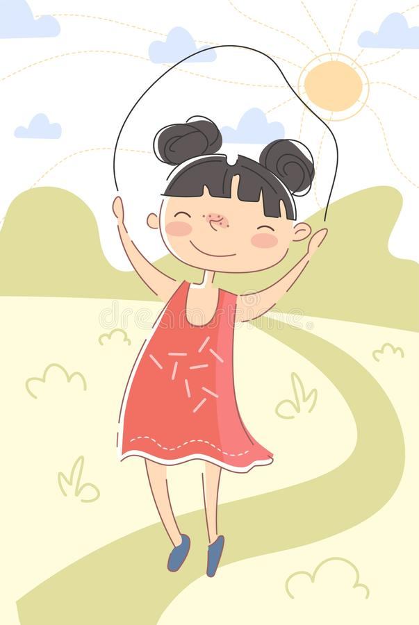 Happy little girl jumping over a skipping rope royalty free illustration