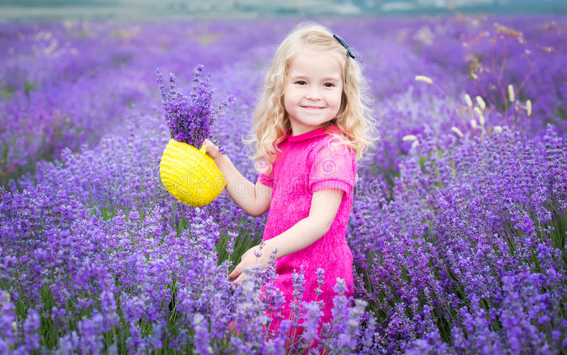 Happy little girl is in a lavender field stock image