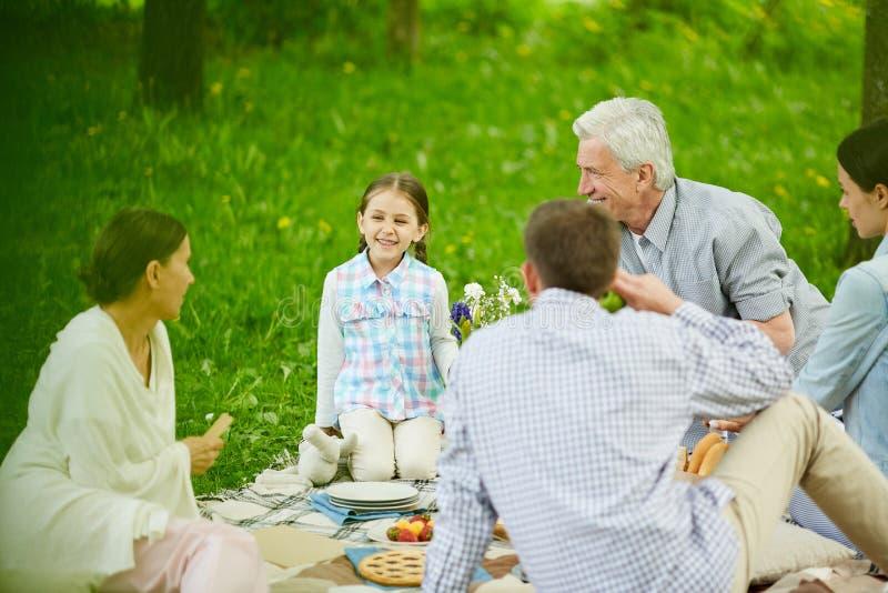Family talk stock image
