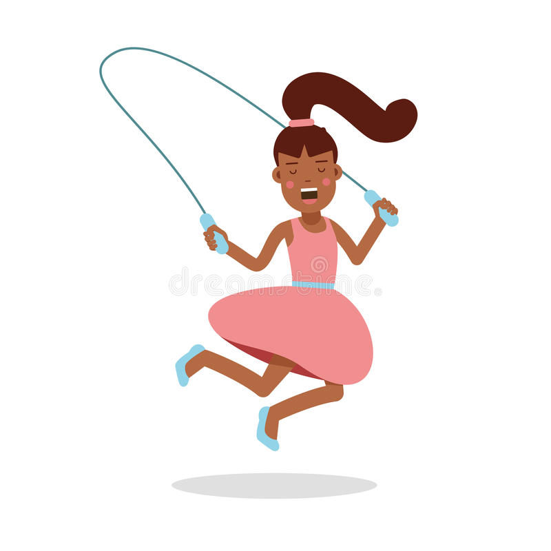 Happy little girl in a pink dress jumping with skipping rope cartoon character, kids physical activities vector royalty free illustration