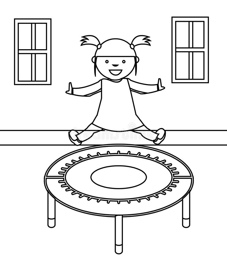 Happy little girl playing coloring page stock illustration