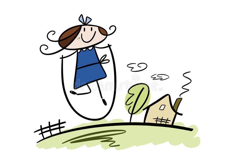 Happy little girl playing with skipping rope. Colorful cartoon (doodle) illustration of a happy little brunette girl playing with a skipping rope in the garden stock illustration
