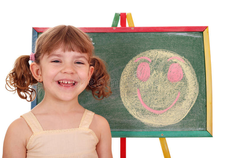 Happy little girl with smiley royalty free stock image